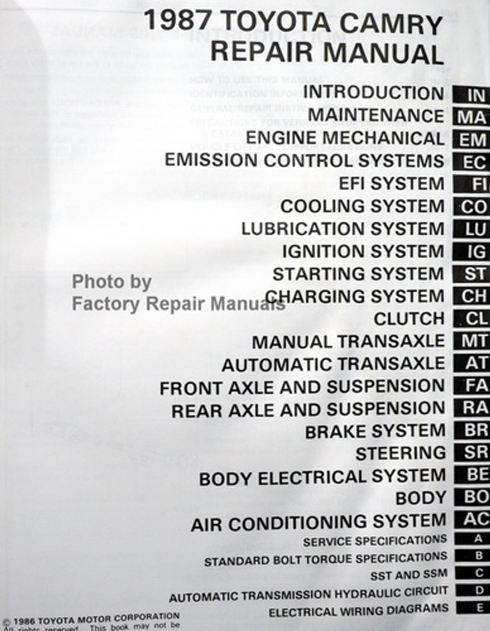 1987 toyota camry owners manual pdf