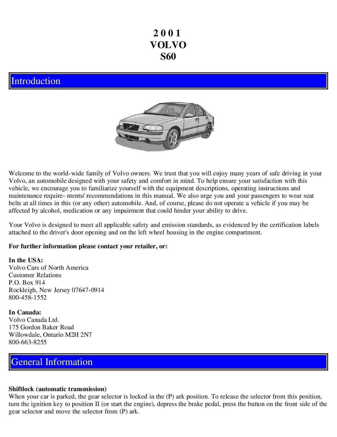 2001 volvo s40 owners manual