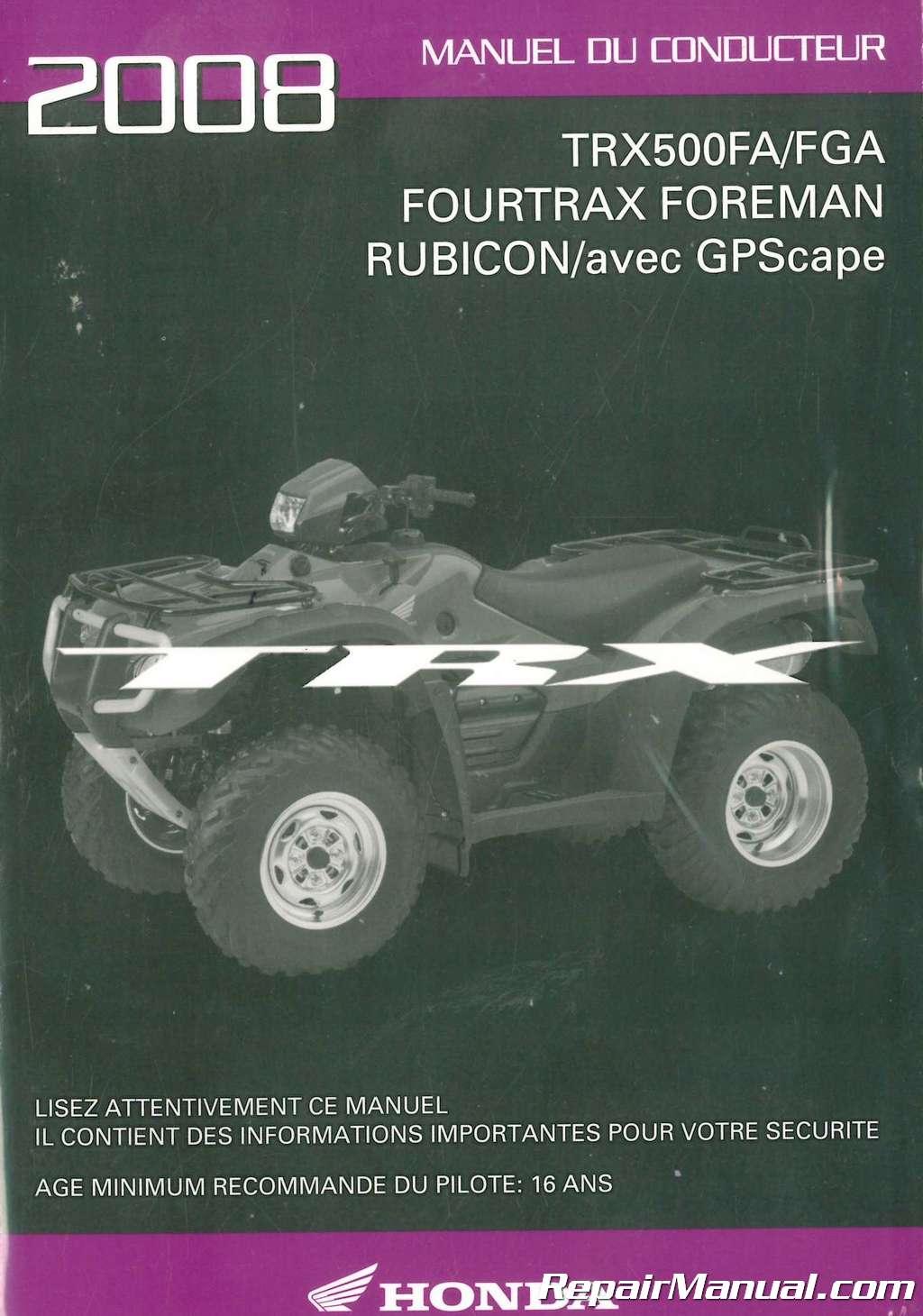 2011 honda rubicon owners manual