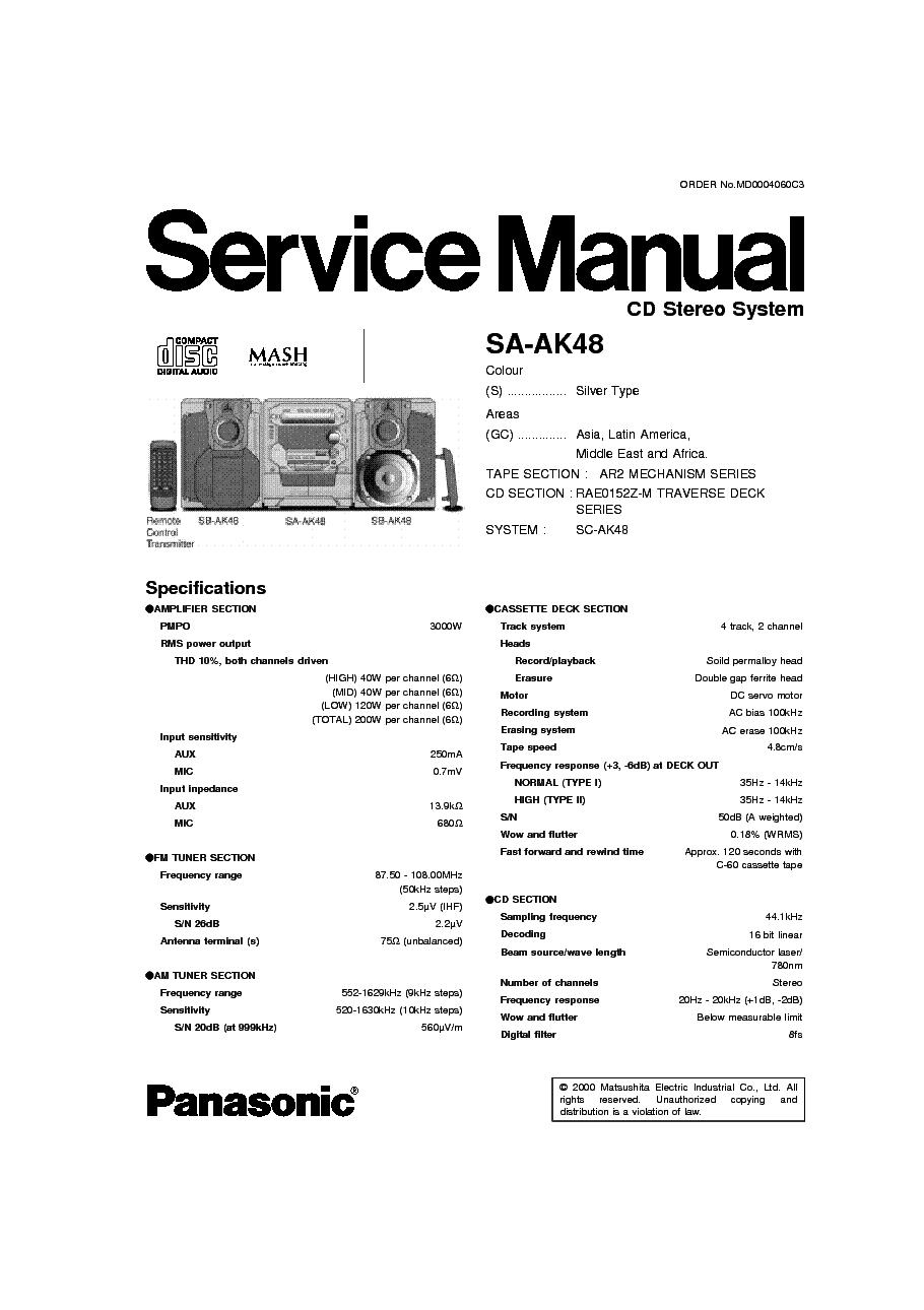 panasonic sa ak44 user manual