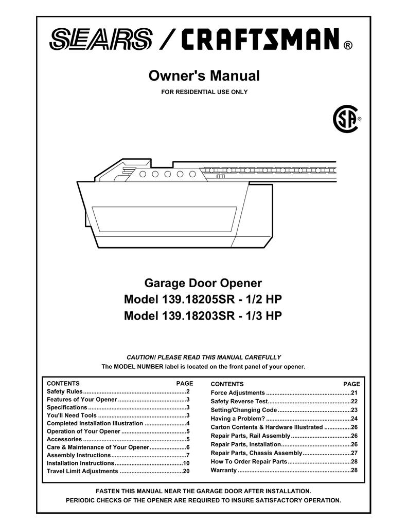 craftsman garage door opener 1 2 hp manual