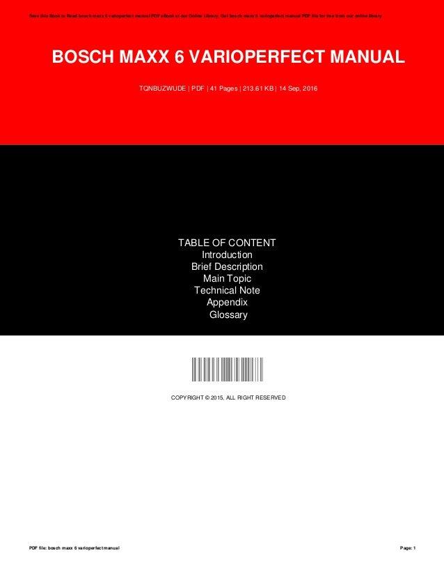 bosch maxx 6 user manual