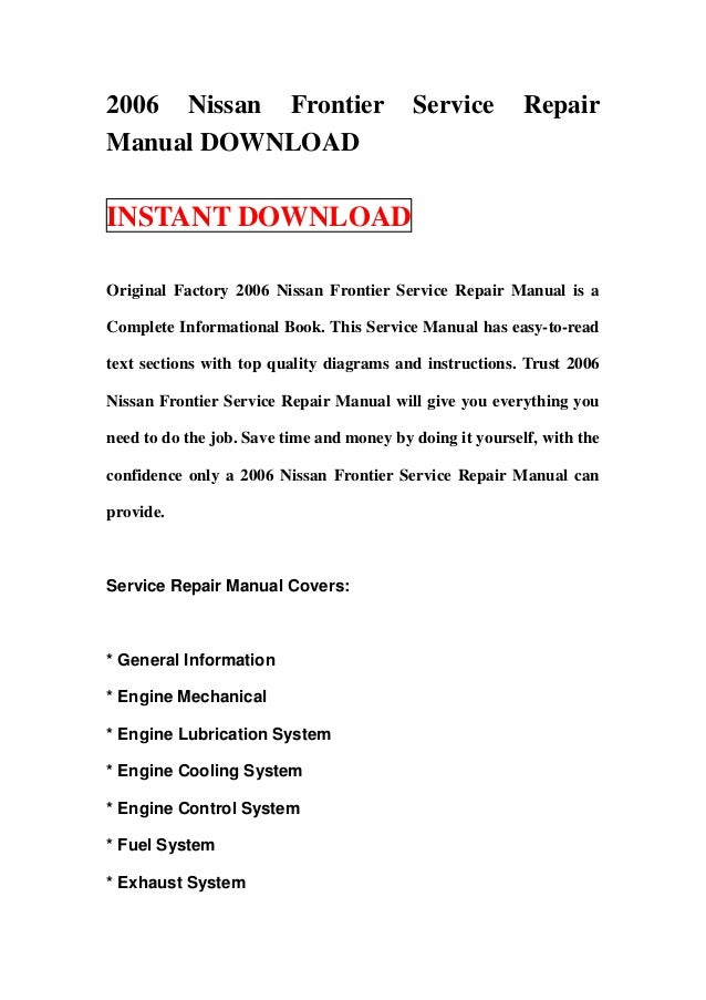 2006 nissan frontier service manual
