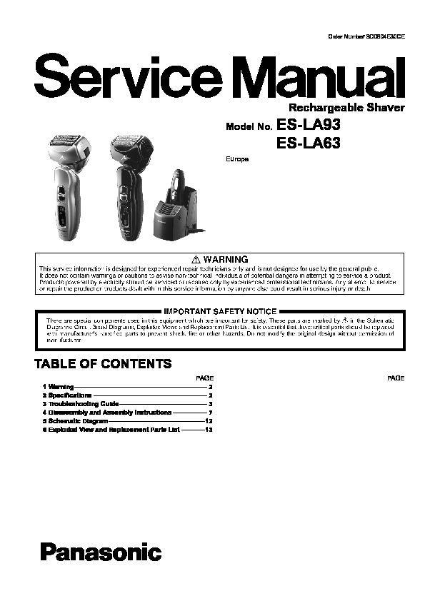 panasonic es la63 owners manual