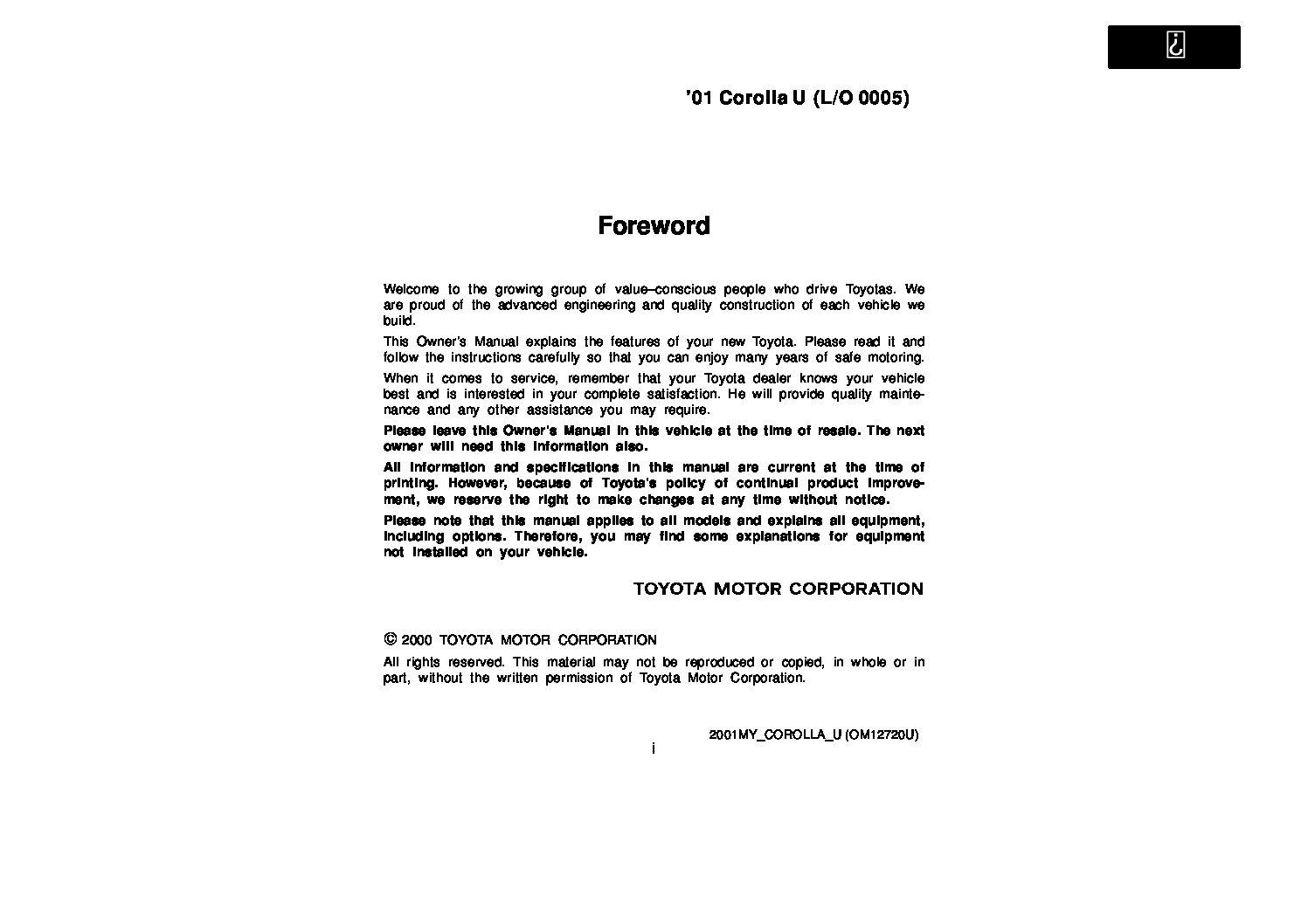 2001 toyota corolla owners manual
