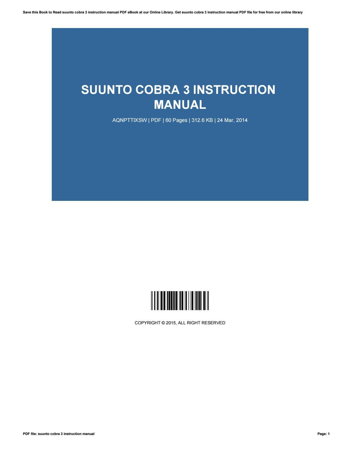suunto cobra 3 user manual