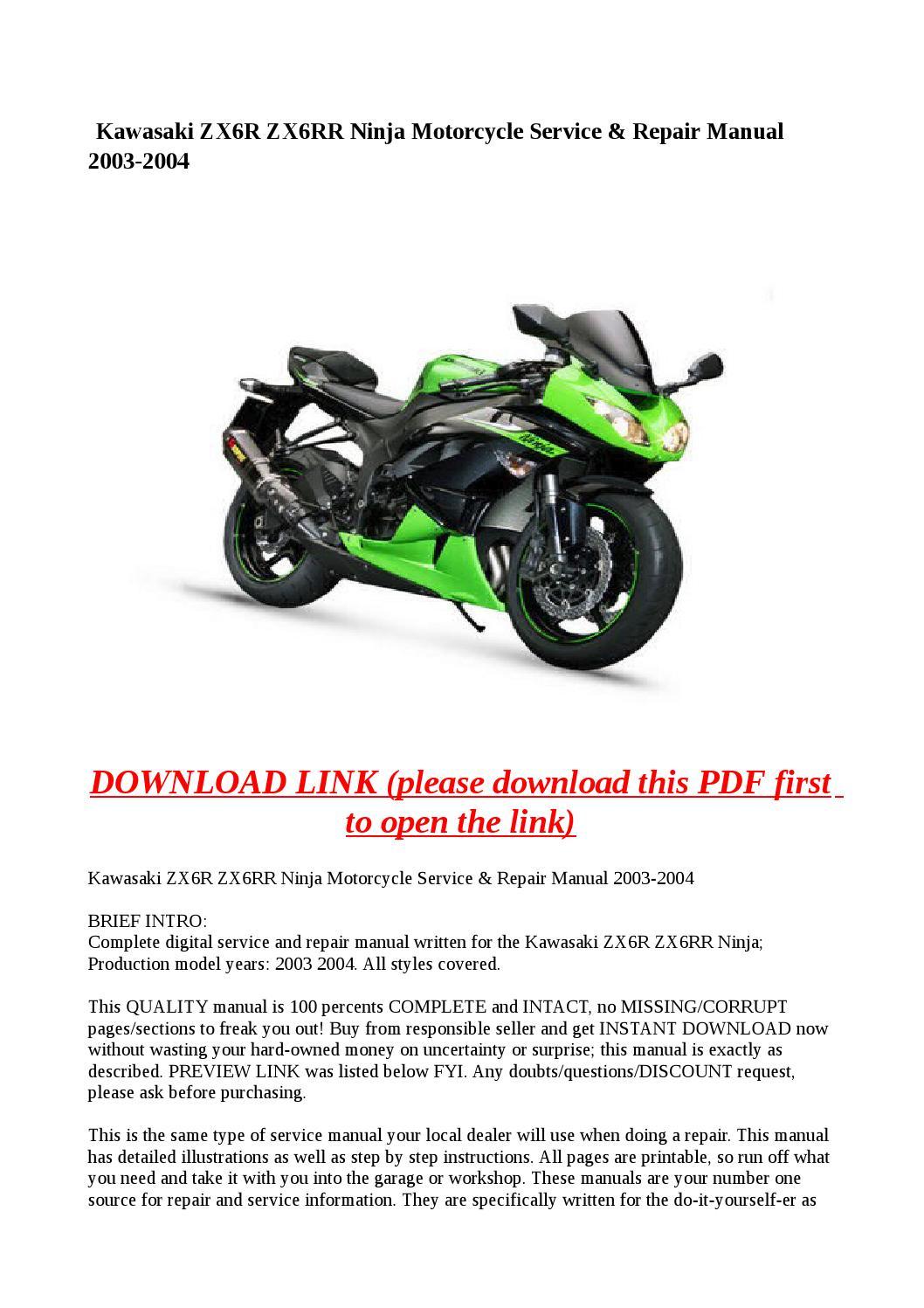 2003 kawasaki zx6r service manual pdf