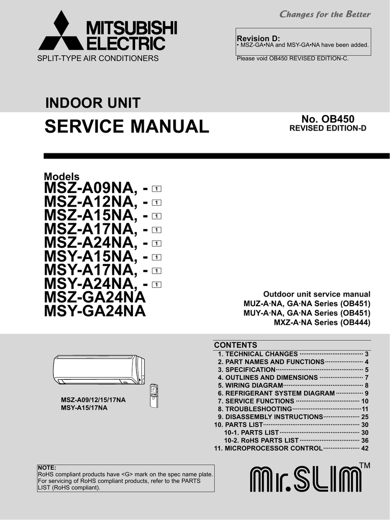 mitsubishi msy ge13va user manual
