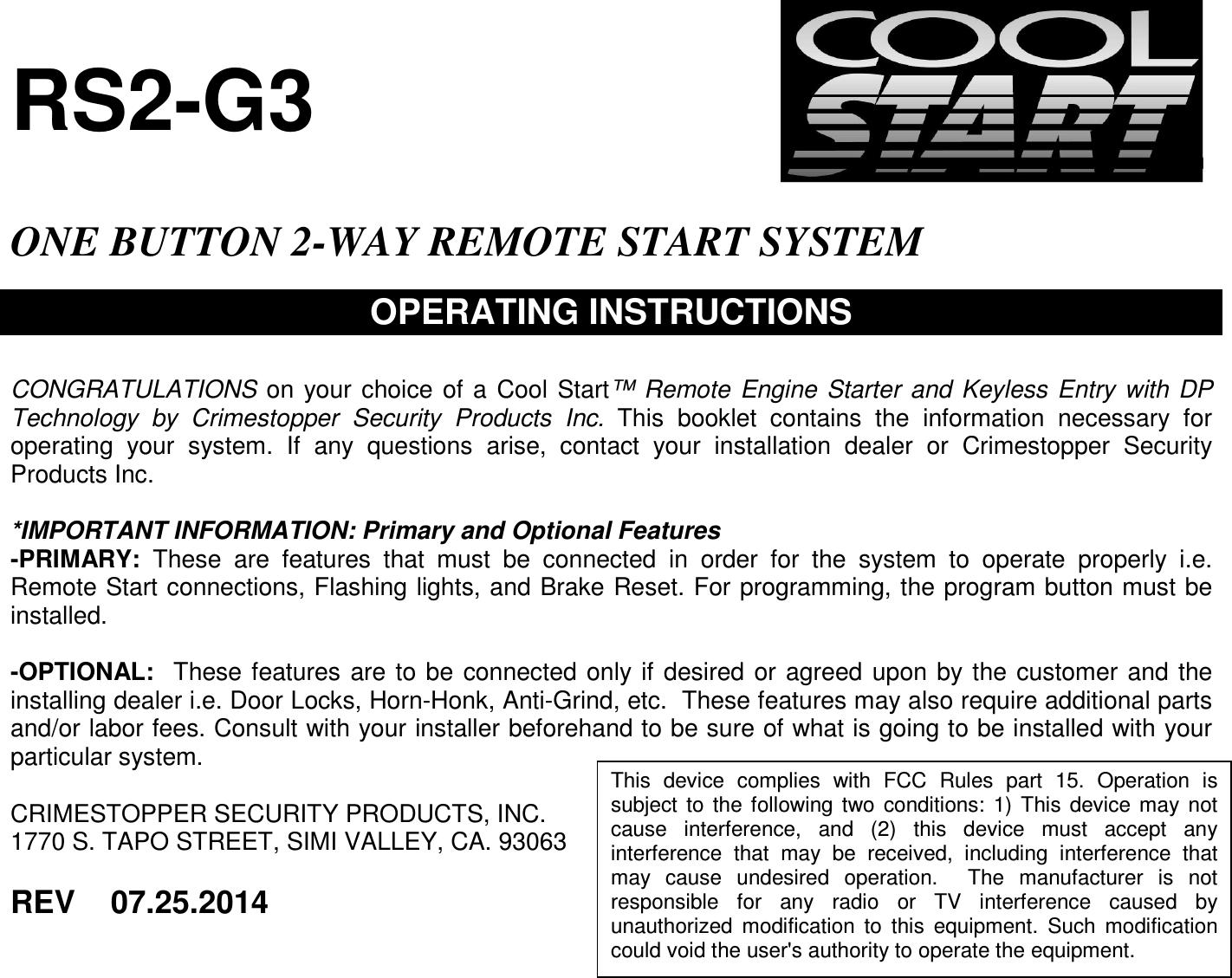 cool start remote starter user manual