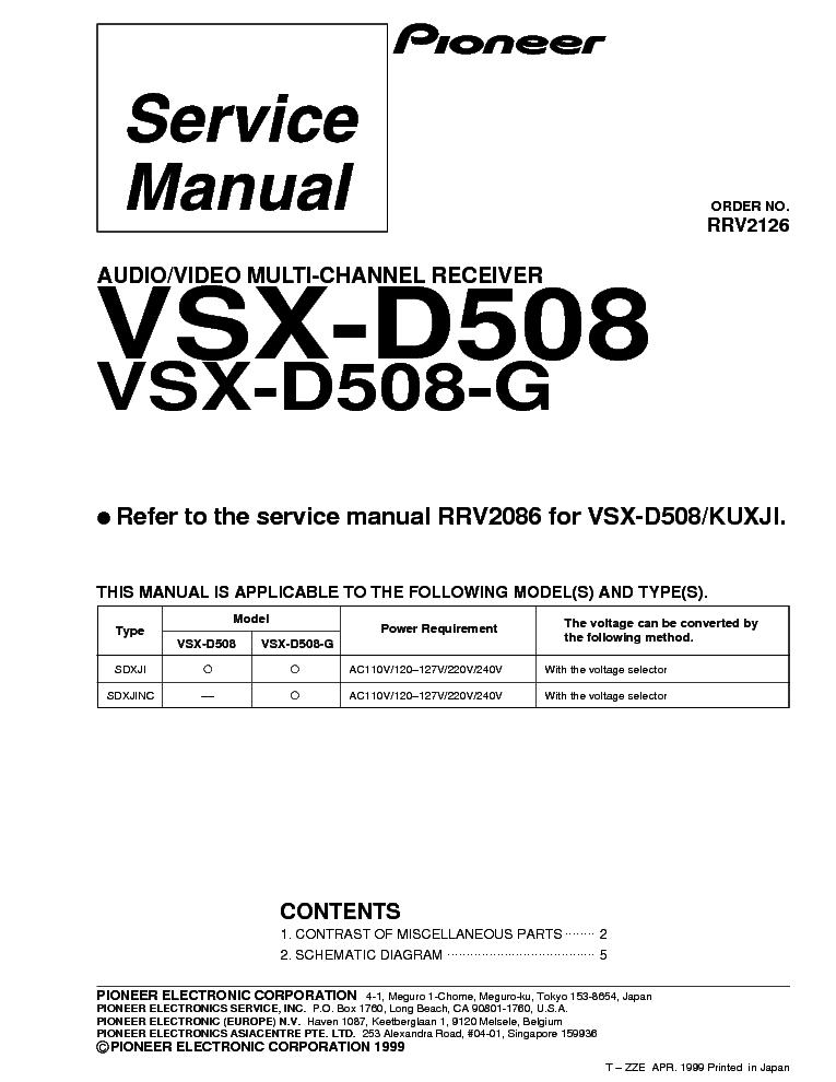 pioneer vsx d508 user manual