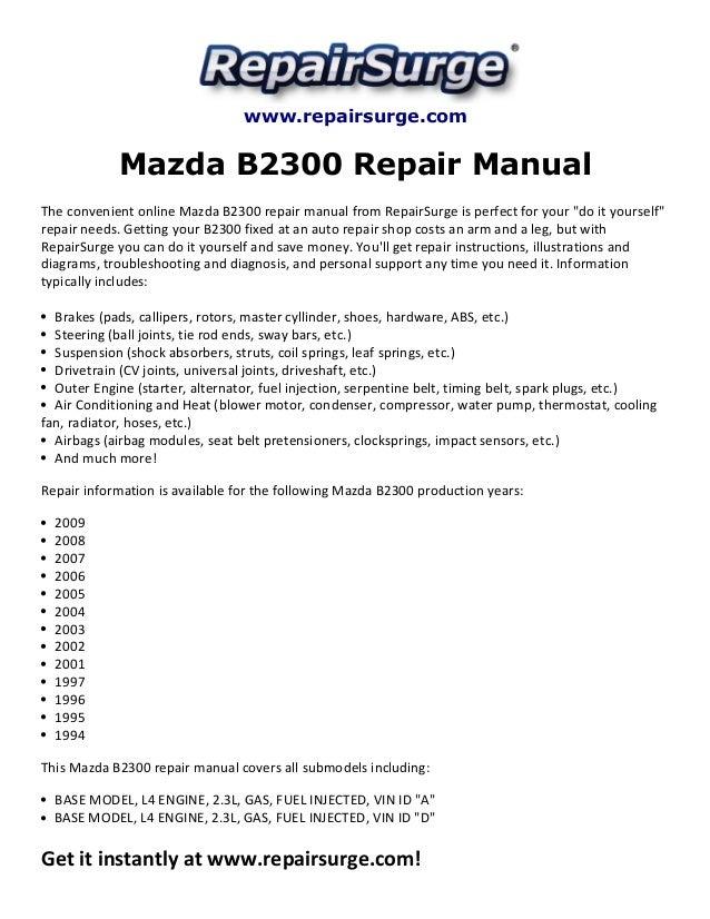 1994 mazda b2300 owners manual