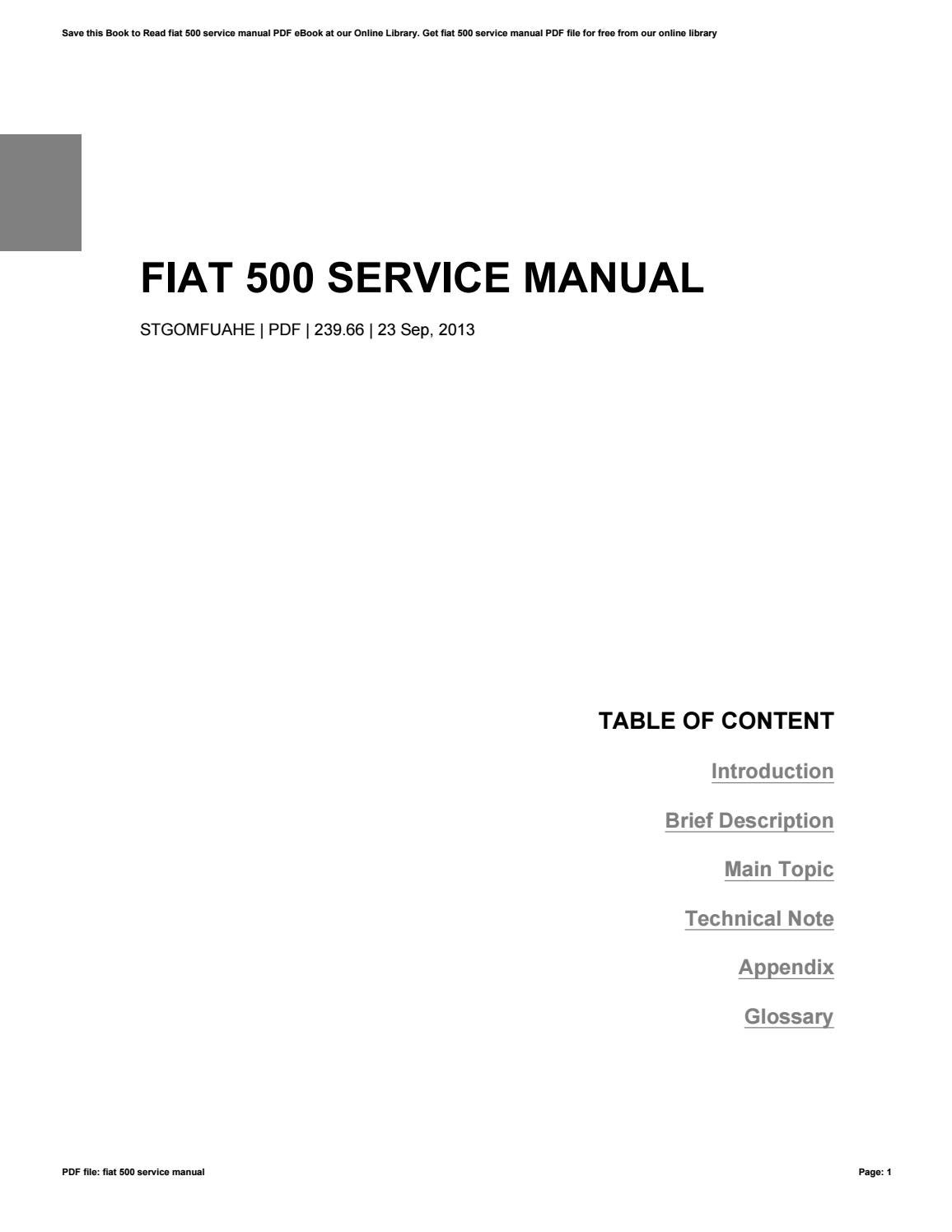fiat 500 sport owners manual
