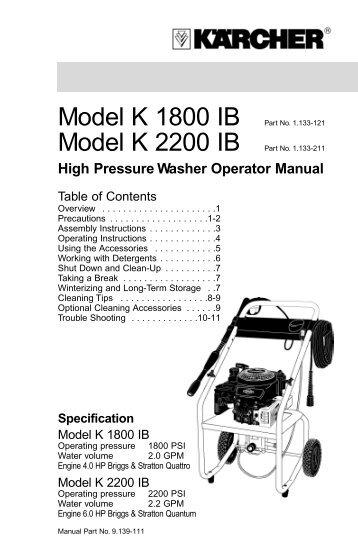 ryobi power washer owners manual